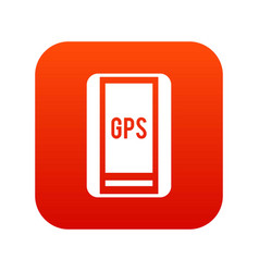 Global positioning system icon digital red vector