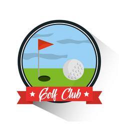 golf club ball hole flag banner emblem vector image