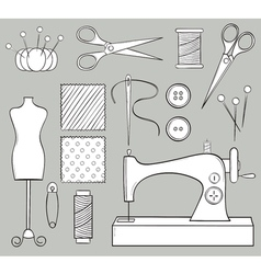 Hand Drawn Sewing Set vector