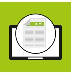 Hand holds tablet html language document vector