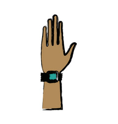 Hand wear smartwatch technology icon vector
