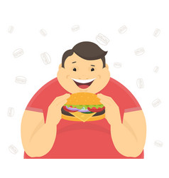 Happy fat man eating a big hamburger vector