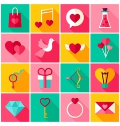Happy Valentine Day Colorful Icons vector