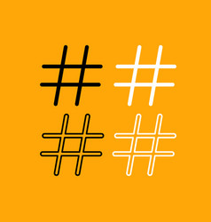 hashtag set black and white icon vector image