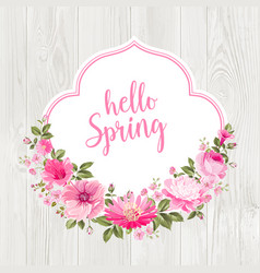 hello spring card over gray wooden texture vector image
