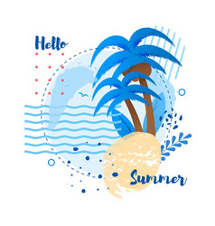 Hello summer greeting lettering poster template vector