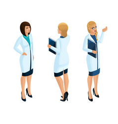 Isometry of a woman medical workers vector