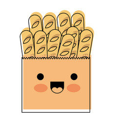 Kawaii paper bag with french breads in watercolor vector