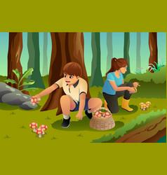 Kids picking up mushroom vector