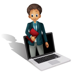 Laptop businessman vector image
