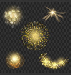 light effect set spotlights flash stars particles vector image