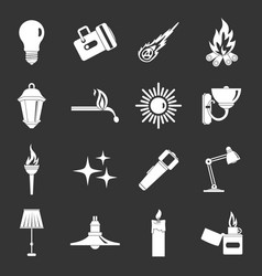 Light source symbols icons set grey vector