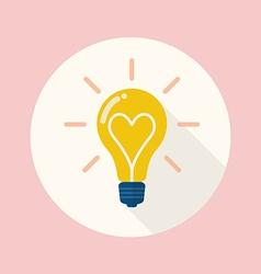 Lightbulb love flat icon vector