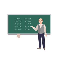 Male school math teacher writing mathematical vector