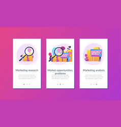 Marketing research app interface template vector