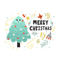 merry christmas card with a cute tree funny vector image