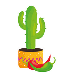 mexican cactu plant with chilli peppers vector image