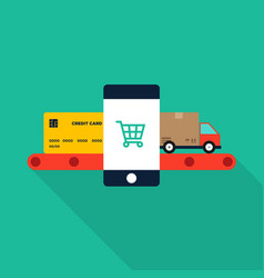 mobile marketing e-commerce and shopping online vector image