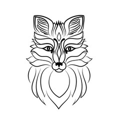 Muzzle of a fox line sketch vector