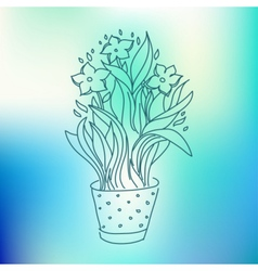 Narcissus in flowerpot sketch drawing vector