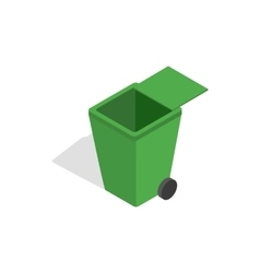 Open green garbage container icon vector