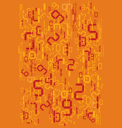 orange digital numbers background vector image
