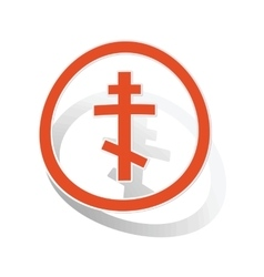 Orthodox cross sign sticker orange vector