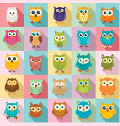 Owl icons set flat style vector