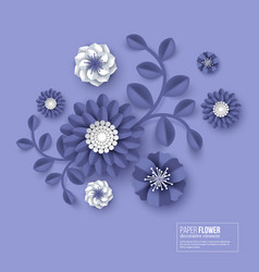 paper cut flower blue color vector image