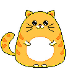 Pixel cute cartoon cat isolated vector