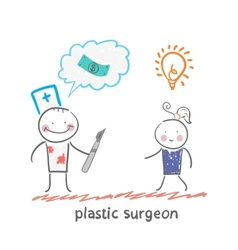 Plastic surgeon thinks about money and listening vector