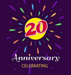 poster anniversary celebrating a bright postcard vector image
