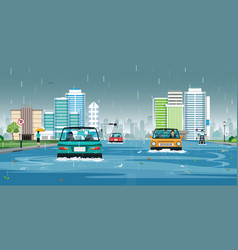 rain flooded the city vector image