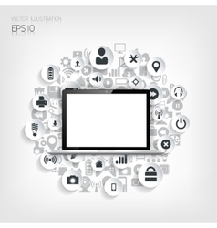Realistic detalized flat laptop with application vector image