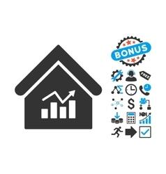 Realty Charts Flat Icon with Bonus vector image