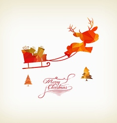 Reindeer sleigh flying over forest in abstract vector