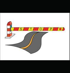 Road barrier stop sign concept vector