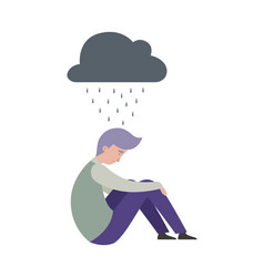 Sad man depression mental disorder people vector