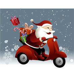 Santa Claus riding a scooter vector image