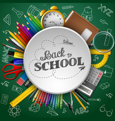 school supplies in a circle on green background vector image
