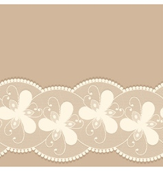 Seamless lacy border on beige background vector
