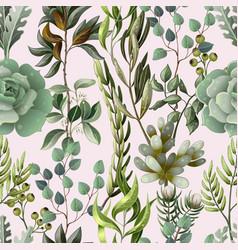 seamless pattern with eucalyptus magnolia vector image