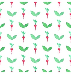 Seamless watercolor pattern with radishes on the vector image