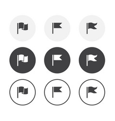 set 3 simple design flag icons rounded vector image