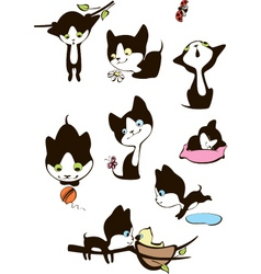 Set cheerful kittens vector