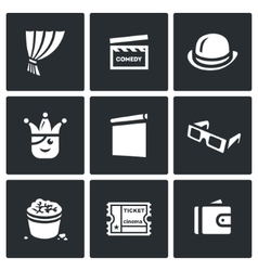 Set of Comedy Cinema Icons Curtain Movie vector image