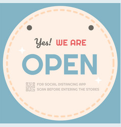 Shop open sign and warning sign massage social vector