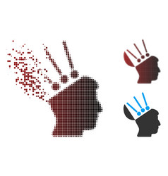 Shredded pixel halftone open mind interface icon vector