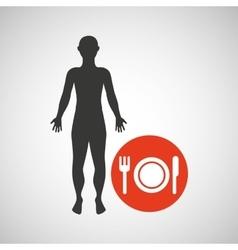 silhouette man fitness menu health vector image
