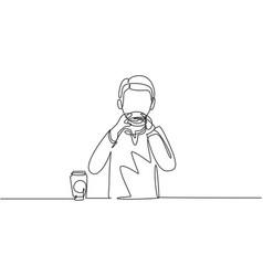 Single continuous line drawing arabian boy having vector